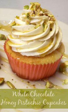 #KatieSheaDesign ♡❤ ❥▶ White Chocolate Cupcakes With Honey Pistachio Frosting