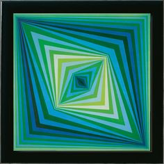 Victor Vasarely: Painting 'Rhombus', framed