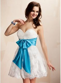 Empire Sweetheart Short Mini Lace Homecoming Dress With Sash Beading Bow(s)  (022019100) f412d5c2e