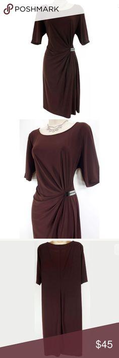 Selling this 16 XL 1X EVAN PICONE CHOCOLATE FAUX-WRAP DRESS on Poshmark! My username is: sexycurvygirls. #shopmycloset #poshmark #fashion #shopping #style #forsale #Evan Picone #Dresses & Skirts