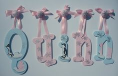Custom hand painted wooden letters - Pink polar bears, penguines, silver snowflakes on Etsy, $21.93 CAD