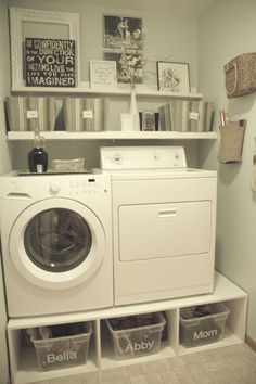 would have to be front loaders....maybe could do under the dryer at least? to raise it  up?  small laundry room mud room makeover, with pedestals and shelves, Tremendously Thrifty