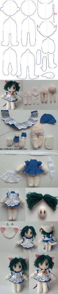Mini doll of Di Gi Charat (Princess Dejiko) Pattern for 4 inches http://dollmaker.nunodoll.com/anime/digi_charat.html http://dollmaker.nunodoll.com/