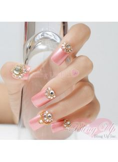 3D Pink Nails with Swarovski Crystals and Golden Beads