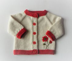 Poppy sweater baby girl sweater knit cardigan for girl baby shower new baby merino sweater with flowers MADE TO ORDER Simple Style Baby Cardigan and Hat pattern by Lion Brand Ya Baby Cardigan, Cardigan Bebe, Baby Girl Cardigans, Girls Sweaters, Baby Sweaters, Knit Cardigan, Baby Knitting Patterns, Knitting For Kids, Baby Patterns