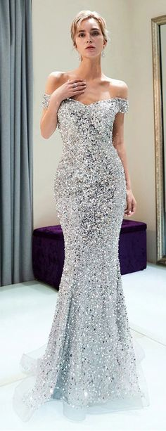Sparkly Off Shoulder Mermaid Silver Beaded Backless Sequin Prom Dresses   ML2646 Diamond Prom Dresses, Sparkly Prom Dresses, Mermaid Prom Dresses, Strapless Dress Formal, Silver Sparkly Dress, Silver Formal Dresses, Beaded Dresses, Silver Gown, Diamond Dress