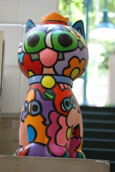 Things we covet: colorful cat sculpture at St. Louis Children's Hospital.