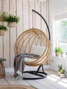 Hampstead Hanging Nest Chair All-weather Bamboo Hampstead Outdoor Hanging Nest Chair in a white wash Hanging Egg Chair, Swinging Chair, Swing Chair Indoor, Indoor Hanging Chairs, Garden Hanging Chair, Hanging Chair With Stand, Egg Swing Chair, Garden Chairs, Hammock Chair With Stand