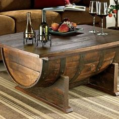 Re-purposed wine barrel into coffee table.
