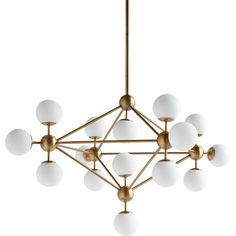 This midcentury modern inspired chandelier has a polished brass finish and 15 bulbs concealed within frosted glass domes. Size: 32 x 32 x 30