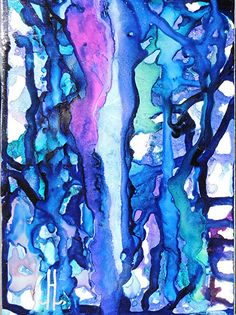 "Daily Painters Abstract Gallery: Abstract Expressionism,Alcohol Ink Painting ""Blue Ribbons II"" by New Orleans Artist Lou Jordan"