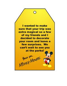 DIY Disney Grand Welcome (Includes templates for Mickey's footprints and tag for outside of door) Disney Resorts, Disney Vacations, Disney Trips, Disney Destinations, Disney World Planning, Disney World Vacation, Disney Travel, Disney Pop, Disney 2017