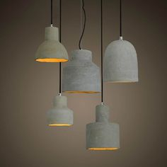 New Design Nordic Minimalist Retro Ceramic Pendant Light E27 Lamp Base Industrial Loft Hanging Concrete Pendant Lamp