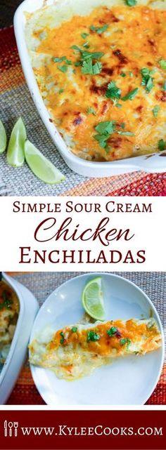 Simple Sour Cream Chicken Enchiladas with a creamy homemade green & white sauce.