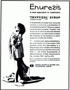 Tryptizol amitriptyline advertisement, 1965. British Journal of Psychiatry, Vol. 111, No. 476.  Enuresis  a new approach in treatment 'TRYPT...