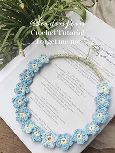Forget-me-not! * Crochet tutorial Crochet * Forget-me-not! Crochet Bracelet Pattern, Bead Crochet, Crochet Patterns, Crochet Wreath, Crochet Flowers, Diy Flowers, Diy Jewelry Tutorials, Beading Tutorials, Crochet Tutorial