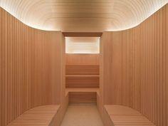 sauna revestida de madeira