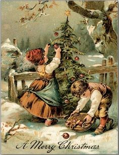 Old-fashioned Christmas Postcard - vintage gifts retro ideas cyo Merry Christmas Happy Holidays, Old Christmas, Old Fashioned Christmas, Christmas Scenes, Victorian Christmas, Christmas Greetings, Merry Xmas, Retro Christmas, Country Christmas