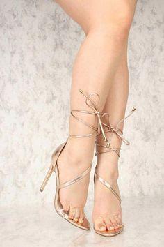 4d4e9baa7489 Sexy Rose Gold Warp Around Lace Up Single Sole High Heels  Highheelboots. High  Heel PumpsHigh ...