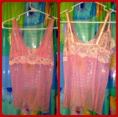 Sexy Leg Avenue Womens Juniors Lingerie Cami Top Lace Blouse Pink #LegAvenue