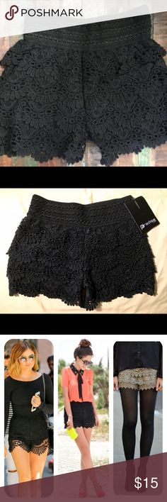 Tiered black crochet/ lace shorts Tiered black crochet/ lace shorts: ☀️Summer style staple Must Have!  Nice thick, quality material, new with tags, never worn, 100% cotton, lining polyester, nice thick/ stretchy elastic band waist, scalloped edge, not too short, super cute and versatile, can be dressed up or down, or wear with tights for fall weather. Size small, but could fit xtra small. I'd say they fit best a size 0- 2. 1st pic stock photo, 2nd pic actual shorts, last pics: style…