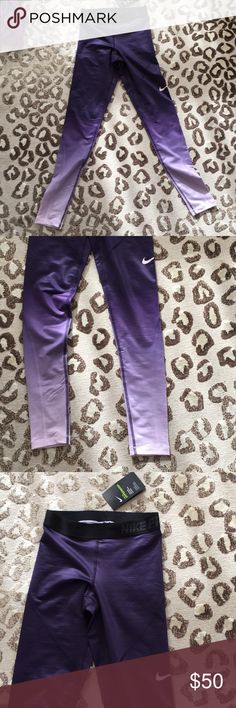 Nike hyperwarm tights Purple ombré Nike leggings ! They're brand new with tags, they just don't fit me! They have a sleek shine to them and they're dark purple to light purple ombré Nike Pants Leggings