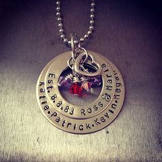 Family metal stamped necklace with swarovski by TuTuCuteStamped, $30.00