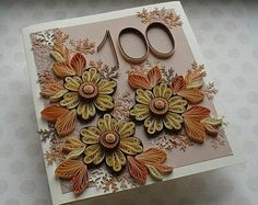 Quilled 100th birthday card, paper quilling, 18th, 21st, 30th, 40th, 50th, 60th, 70th, 80th, 90th