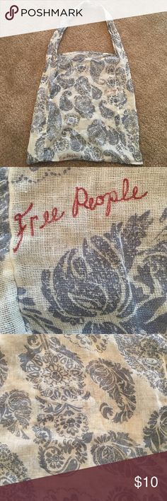 Free people bag Free people sheer bag. Grey and white design. Free people written in maroon. Free People Bags Totes