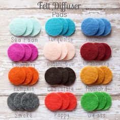Pack of 25 Additional Felt Pads for Essential Oil Diffuser Pendants  Pads come in a variety of colors! Sea Foam Turquoise Periwinkle Raspberry