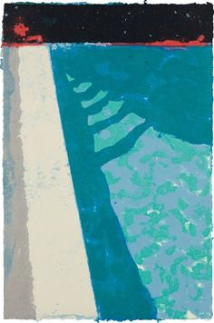 Artwork by David Hockney, Steps with Shadow F (Paper Pool Made of Unique hand-coloured pressed paper pulp, on white TGL handmade paper, the full sheet David Hockney Pool, Hockney Swimming Pool, Shadow F, Illustrations, Illustration Art, Pop Art Movement, Foto Art, Art Abstrait, Musa