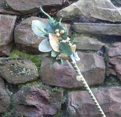 Flower Fairy Wand  Gold by MabinRhysFairyThings on Etsy, £14.00