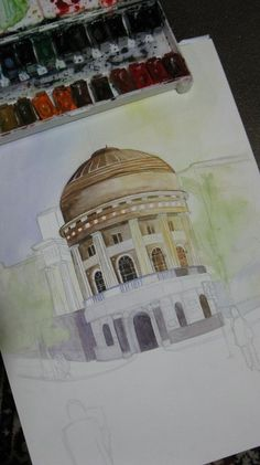 Watercolor painting, in the process