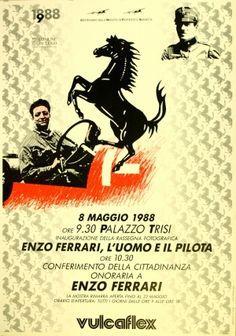 Enzo Ferrari Man and Driver, 1988 - original vintage poster listed on AntikBar.co.uk