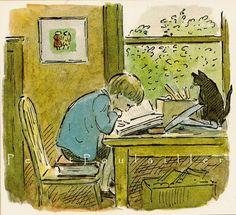 Artwork by Edward Ardizzone English artist and creator of children's books Reading Art, Kids Reading, Edward Ardizzone, Children's Book Illustration, Book Illustrations, I Love Books, Book Nerd, Cat Art, Kitsch