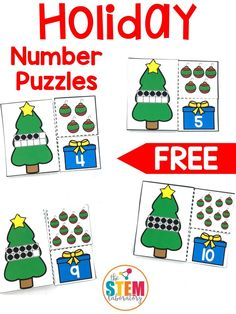 A fun way for pre-k and kindergarten kids to work on number identification, counting and ten frames this holiday season! Kids will love this fun holiday-themed math center. Christmas Math, Christmas Activities For Kids, Preschool Christmas, Winter Activities, Numbers Kindergarten, Kindergarten Math Activities, Preschool Activities, Theme Noel, Math Centers