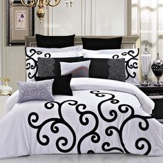 7-Piece Montana Duvet Cover Set in White and Black - Beyond the Rack