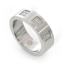 Silver Color Ring White Rhodium Plated Decorated with Cubic Zirconia Handmade by Jennifer Love