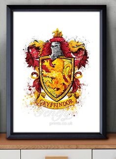 Les enfants de Harry Potter Gryffondor crête aquarelle Art Poster Print - Wall Decor - Aquarelle - Aquarelle Art - Decor - Decor de pépinière