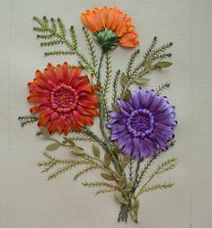 Wonderful Ribbon Embroidery Flowers by Hand Ideas. Enchanting Ribbon Embroidery Flowers by Hand Ideas. Ribbon Embroidery Tutorial, Silk Ribbon Embroidery, Embroidery Applique, Embroidery Stitches, Embroidery Designs, Ribbon Art, Ribbon Flower, Brazilian Embroidery, Fabric Flowers