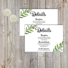 Wedding DETAILS Card Garden Greenery Foliage