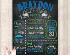 Boy First Birthday Poster Party Decor Blue and by IconicaDesign