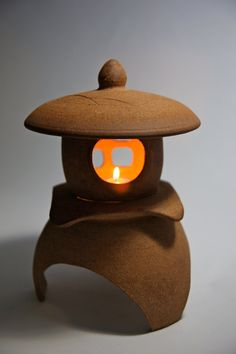 """Japanese Lantern with candelabra socket, Yukimi(snow viewing), Hand crafted ceramic stoneware, garden or inside, 12 1/8""""H x 9""""W OOAK by AumakuaPottery on Etsy"""