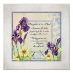 Calligraphy Poem Daughter in Law Iris Watercolor Poster - calligraphy gifts unique style cyo customize