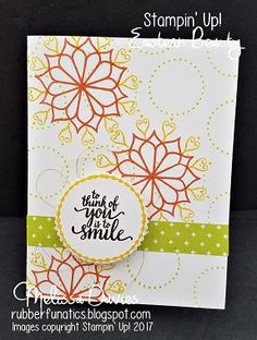 2017 RubberFUNatics: Think of You Stamps: Eastern Beauty Ink: Lemon Lime Twist, Crushed Curry, Tangerine Tango, Early Espresso Paper: Whisper White, Eastern Palace DSP Accessories: Layering Circles framelits,Gold Metallic Thread