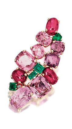 Ruby, pink sapphire and emerald brooch, Suzanne Belperron and a topaz and pink sapphire ring, - Alain. Pink Sapphire Ring, Pink Topaz, Pink Ring, Sapphire Jewelry, Antique Jewelry, Vintage Jewelry, Saphir Rose, Pink And Green, Fine Jewelry