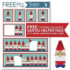 FREE Christmas printable tags- By Sueni Designs Printable Tags, Christmas Printables, Design Projects, Gift Tags, Santa, Graphic Design, Crafty, Holiday Decor, Creative