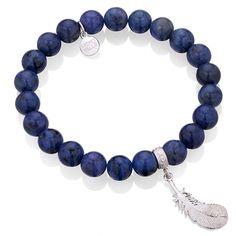 Lapis lazuli z zaokrąglonym piórkiem cena: 150 zł  #bracelet #feather #pióro #bracelet #mokobelle #mokobellejewellery #jewellery #silver