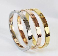 Trendy Crystal Rose Gold Silver Bracelet for Women Bangle Lover Bracelet #MXZA #Bangle