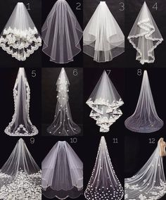 Pick your wedding veiWhich veil is your favorite?Pick your wedding veil because there are so many different styles and lengths to choose from Let us know whether you are getting married in a church or on a beach are you going for a veil? Dream Wedding Dresses, Bridal Dresses, Wedding Gowns, Bridesmaid Dresses, Bridal Veils, Long Wedding Veils, Wedding Viel, Diy Wedding Veil, Wedding Dress Sketches